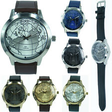 Mens World Face Globe Map Modern Fashion NY London Leather Strap Quartz  Watch
