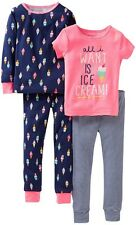 Carters Kids Toddler Girls 4PC Snug Fit Cotton Ice Cream Sleeping Pajama Set NEW