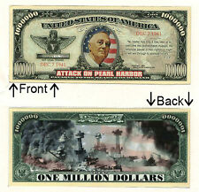 Pearl Harbor One Million Dollars Novelty Bill Notes 1 5 25 50 100 500 or 1000