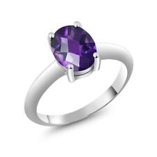1.60 Ct Oval Checkerboard Purple Amethyst 925 Sterling Silver Ring 9x7 mm