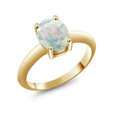 1.60 Ct Oval Cabouchon White Opal 18K Yellow Gold Ring 9x7 mm
