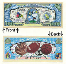 Its A Boy One Million Dollars Bill Novelty Notes 1 5 25 50 100 500 or 1000