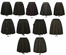 Lady's Pretty Sports Black Floral/Flower Lace Waistband A-line Skater Skirts