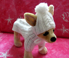 Pet Clothes  Hand-Made Outfit   White Sweater & Hat  for small Dog Xs Size