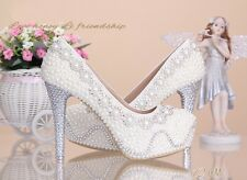 pearls rhinestone bridal shoes high heels wedding shoes platform stilettos pumps