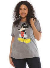Disney Mickey Mouse Distressed Graphic Gray Plus Size Women's T-Shirt 1X