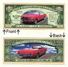 1965 Dollars Classic Car Mustang Bill Notes 1 5 25 50 100 500 or 1000