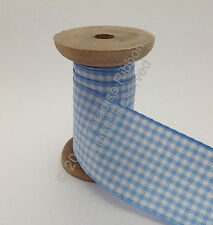 Berisfords Gingham (Small Check) Ribbon - 3 Sky CHOOSE WIDTH & LENGTH
