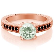 1.42 Ct Round Green Amethyst Black Diamond 925 Rose Gold Plated Silver Ring