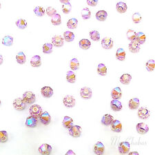 4mm Light Amethyst AB 2x (212 AB2X) Swarovski Crystal 5328 / 5301 Bicone Beads
