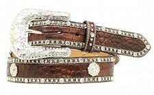 Nocona Western Womens Belt Leather Croc Print Studded Concho Brown N3497802
