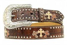 Nocona Western Womens Belt Leather Triple Cross Embroidery Studded N3498002