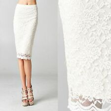 New Cute Lovely High Waisted Ivory White Floral Flower Bodycon Lace Pencil Skirt