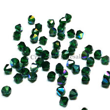 3mm Emerald AB (205 AB) Swarovski crystal 5328 / 5301 Loose Bicone Beads