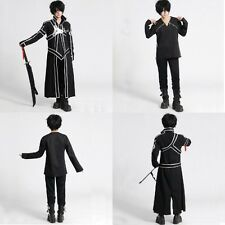 New Men's Anime Sword Kirito Kazuto Cosplay Costume coats fancy dress Size S-XXL