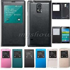 Window Flip View PU Leather Battery Cover Case For Samsung GALAXY S5 i9600 G9006