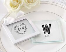 36 Personalized Rustic Themed Glass Coasters Wedding Favor