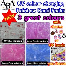 Rainbow Colour Loom UV Bands, colour changing with charms or UV pony beads