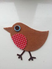 x 6 Large Felt RETRO ROBINS die cut with Red Polka Dot Breast Christmas Applique