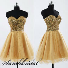Stock New Gold Sequins Short Prom Party Dresses Homecoming Cocktail Ball Gowns