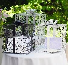 Present Shaped Wedding Reception Gift Card Holder Box - Black, White or Silver