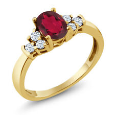 0.74 Ct Ruby Red Mystic Topaz White Topaz 925 Yellow Gold Plated Silver Ring