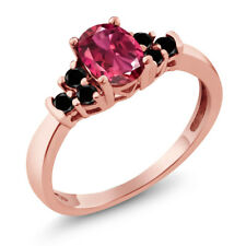 0.70 Ct Oval Pink Tourmaline Black Diamond 925 Rose Gold Plated Silver Ring