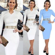 Womens Belted Celeb Stretch Tunic Party Career Business Work Pencil Sheath Dress