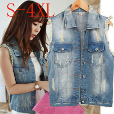 Plus Size S-4XL Women's Vintage Denim Hole Frayed Vest Jean Jacket Waistcoat