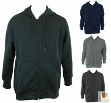 Mens PLAIN ZIP UP HOODIE Hooded Sports Jacket Casual Fleece Lined Basic S-XXL