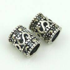 925 Sterling Silver Marcasite Barrel Handmade Bead DIY Jewelry Making WSP167