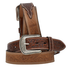 3D Western Mens Belt Leather Tooled Distressed Brown 7314
