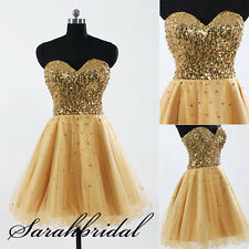 New Glitter Gold Short Prom Party Homecoming Dresses Cocktail Clubwear Ball Gown