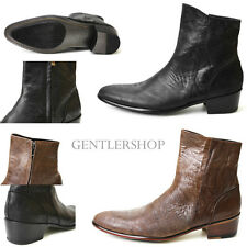 Mens Fashion Black/ Brown Leather Ankle Boots HANDMADE 4554, GENTLERSHOP