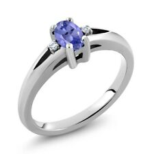 1/2 Ct Stunning Oval Blue Tanzanite 925 Sterling Silver Ring