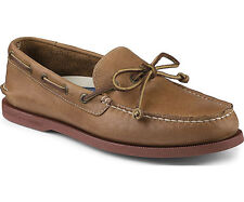 NIB Sperry Top-Sider STS10426 A/O 1 Eye Leather Boat Shoe in Dark Tan