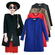 Korean Fashion Women Outwear Winter Wool Blend Long Solid Coat Jacket Overcoat