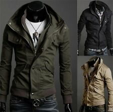 NEW TOP Military Men's Slim Fit Stand Collar Jacket Coat Overcoat  SIZE M L XL