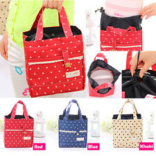 Thermal Insulated Lunch Box Tote Cooler Lace Dot Bag Bento Picnic Pouch Lunch