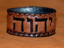 Leather Bracelet MODERN Hebrew Name Yod/Hey/Vav/Hey YHWH man/woman Messianic