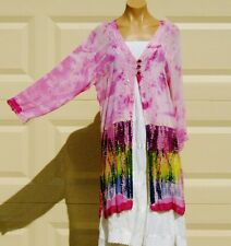 India Boutique Pink/Multi Shear Jacket / Cover Up - FREE SIZE, ONE SIZE, NWT