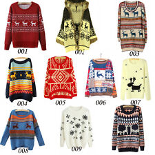 Womens Ugly Christmas Xmas Reindeer Knitted Sweater Casual Sweatshirt Jumper