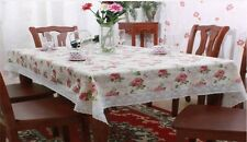 "UK Stock Sale New Wipe Clean Tablecloth Vinyl PVC Printed Flower W/ Lace 54""x72"""