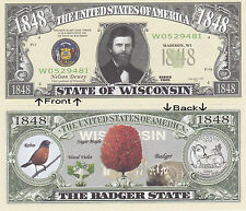 1848 U.S.A. State of Wisconsin WI Novelty Notes Bills 1 5 25 50 100 500 or 1000