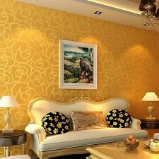 New 10m Simple Non-woven Flocking Rose Wallpaper Modern Bedroom Sofa Background