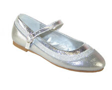 Girls Childrens New Silver Glitter Ballerina Shoes Party Wedding Flower Girl
