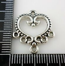 24/200pcs Tibetan Silver Heart 1 to 5 holes earring Connectors Charms