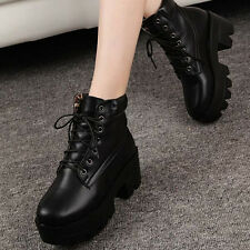 Women punk top high heel fashion ankle boots platform thick with lace-up NOI