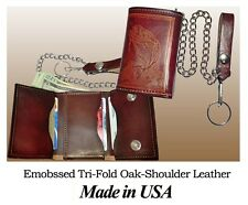 Embossed Oak-shoulder Cowhide Leather Tri-fold Motorcycle, Trucker, Biker Wallet