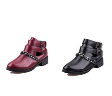 fashion ladies low-heel ankle boots Buckle & alloy chain ornament casual boots